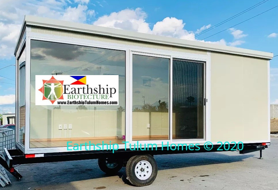 Mobile Eco Bunker Office Tiny Home. 8ft wide x 24 ft long x 8 ft tall ° 6 m2 65 sq. ft of space.